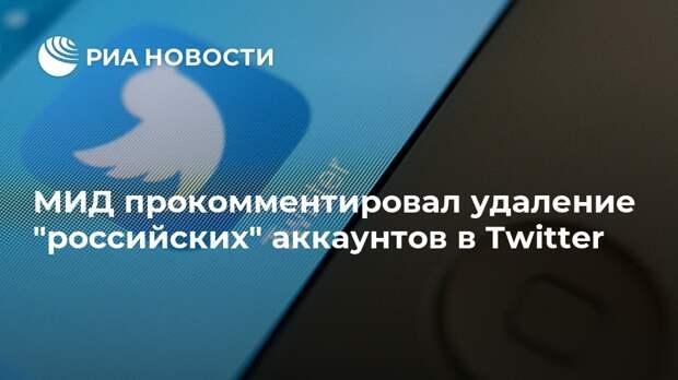 """МИД прокомментировал удаление """"российских"""" аккаунтов в Twitter"""
