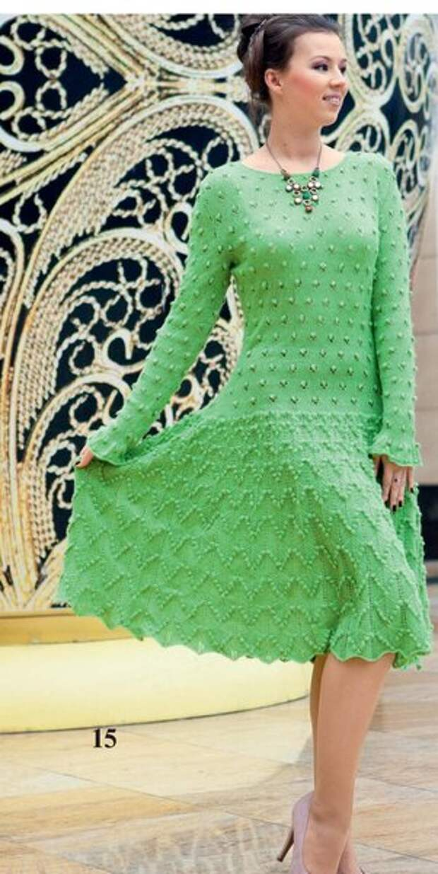 Вяжем на осень - 6 интересных моделей платьев спицами