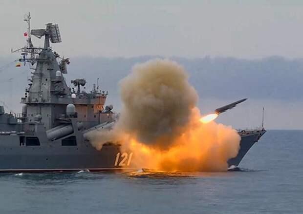 Ракетный крейсер «Москва» выполнил стрельбу комплексом «Базальт» в Чёрном море