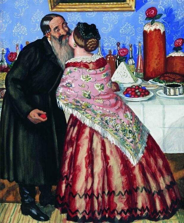 Источник: artandyou.ru. Борис Кустодиев «Пасхальный обряд (Христосование)» (1916)