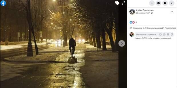 Фото дня: одинокий велосипедист с лефортовских улиц
