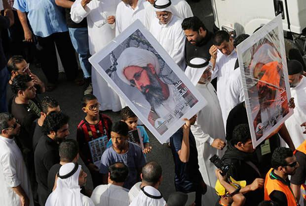 Демонстрация против казни шиитского проповедника Нимра аль-Нимра