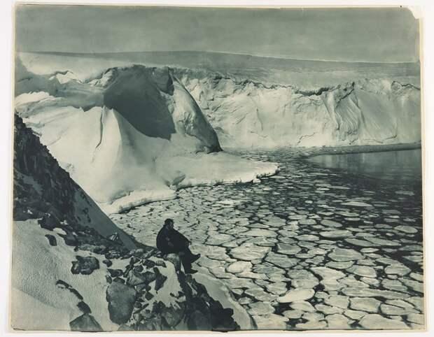 Ф.Бикертон смотрит на море у залива Содружества, приблизительно 1912 год Австралийская антарктическая экспедиция, антарктида, исследование, мир, путешествие, фотография, экспедиция
