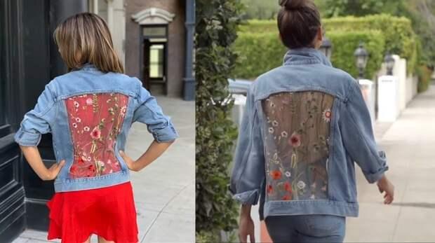 Ультрамодная джинсовая куртка с гипюровыми вставками за 5 минут!