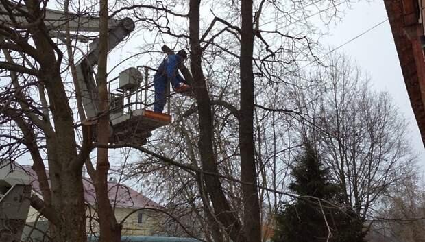 Рабочие спилили сухие деревья возле двух домов в Южном поселке Подольска