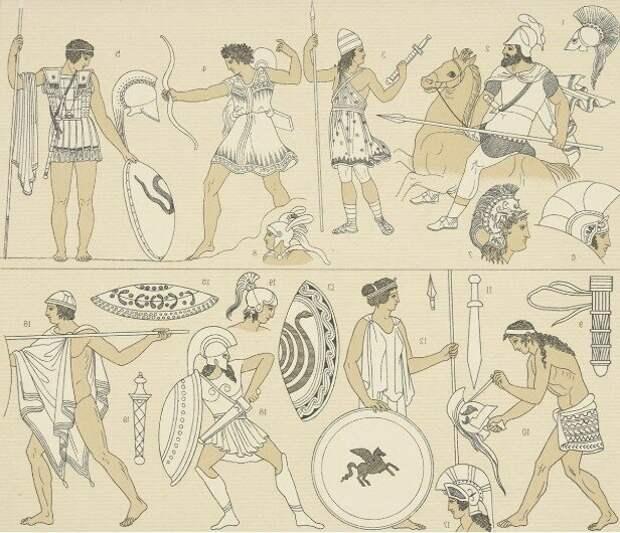 Греческие воины, оружие и доспехи в образе художника XIX века Альберта Рачине