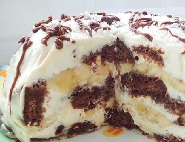 Шоколадно-банановый торт без выпечки.