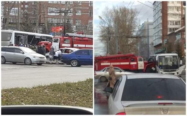 В Томске пожарная машина протаранила маршрутный автобус