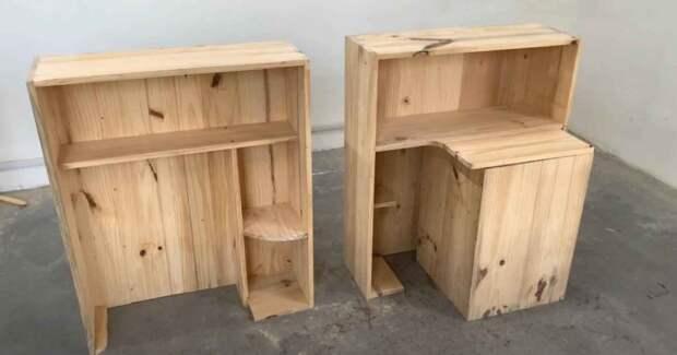 Детский рабочий уголок для учебы — складная конструкция-трансформер «3 в 1»: стол + стул + шкафчик с полками