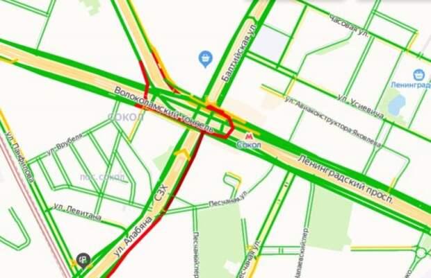 Загруженность дорог на Соколе вечером 2 июня достигла трех баллов — «Яндекс. Пробки»