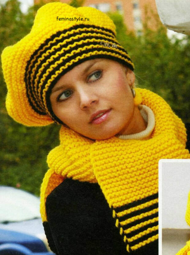 Вязание спицами берета и шарфа