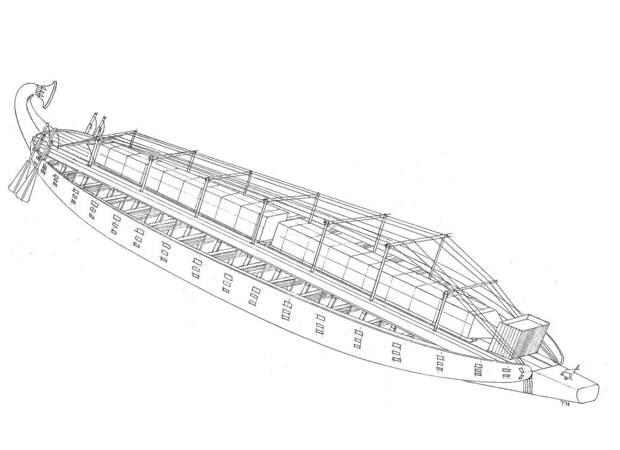 Рис.16. Трёхмерный вид большегрузной речной баржи царицы Хатшепсут (автор)