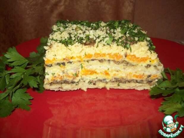 Селедочный торт из простых магазинных вафельных коржей