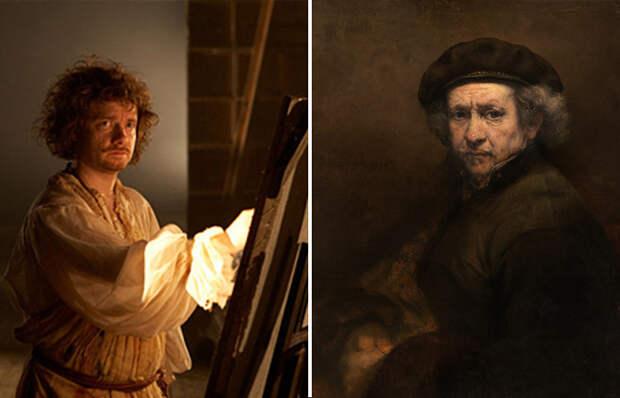 Кадр из фильма и автопортрет Рембрандта