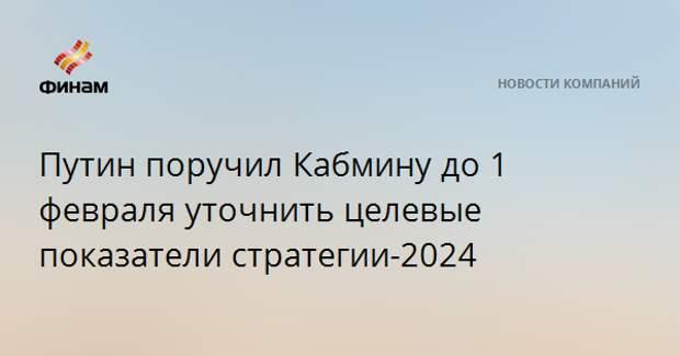 Путин поручил Кабмину до 1 февраля уточнить целевые показатели стратегии-2024