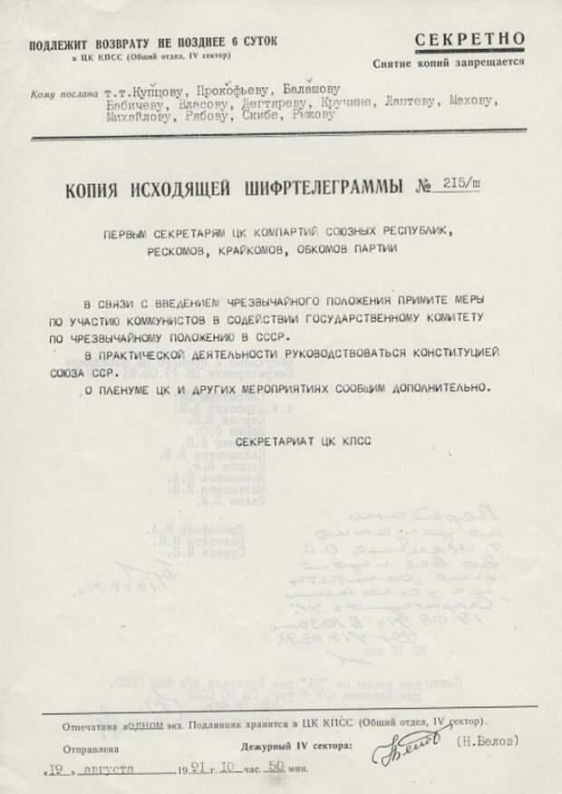 Шифртелеграммы. 19 августа 1991 года.