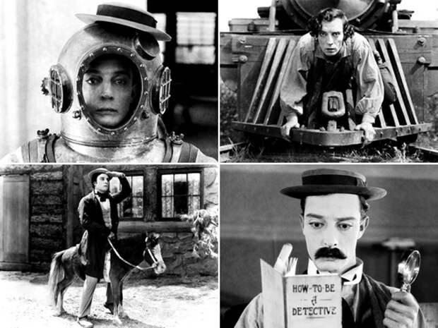 Кадры из фильмов «Навигатор» (1924), «Генерал» (1927), «Наше гостеприимство» (1923) и «Шерлок младший» (1924)