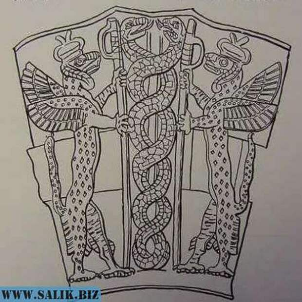Рептилии в коронах? А посередине - молекула ДНК?  Копия фрагмента рисунка древней шумерской вазы.