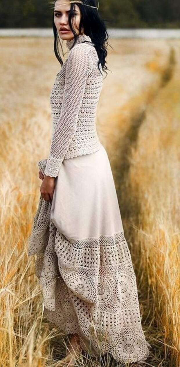 Юбка - ткань+вязание! Любо дорого смотреть)