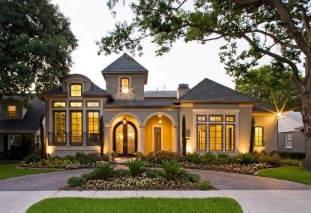 Шикарный дизайн фасада дома одноэтажного
