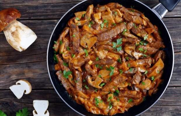 Вкуснейшая тушеная говядина с белыми грибами