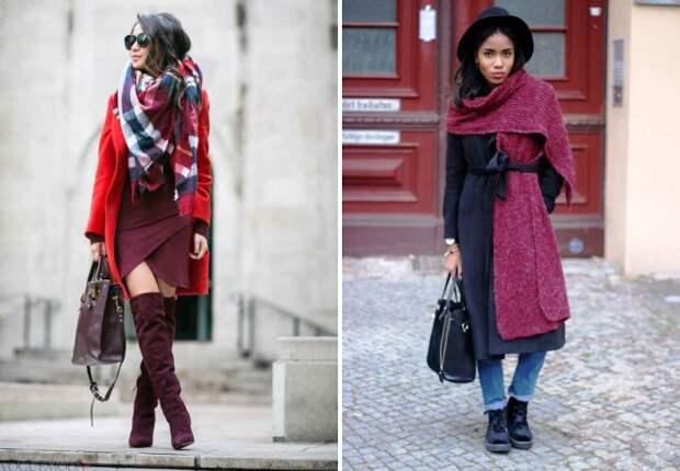 как носить палантин с пальто