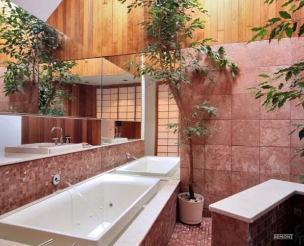 Оттенки розового в ванной в восточном стиле