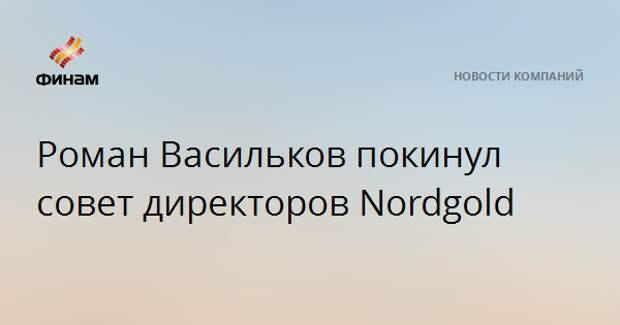 Роман Васильков покинул совет директоров Nordgold