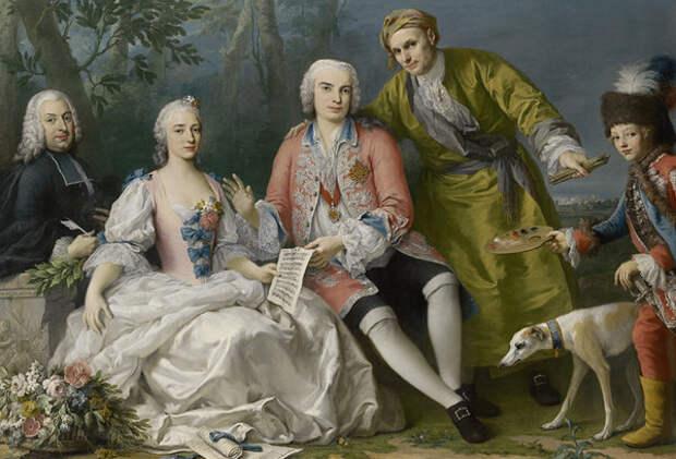 Якопо Амигони «Фаринелли со своими друзьями» (художник изображен в зеленом одеянии)