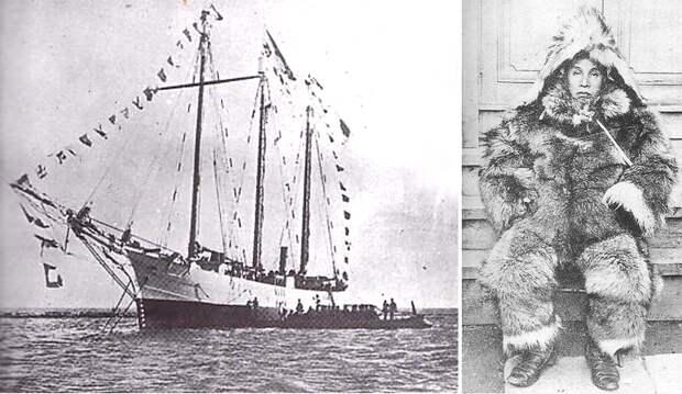 На фото: экспедиционное судно «Кайнан-мару» и начальник экспедиции Сирасэ Нобу в полярной одежде