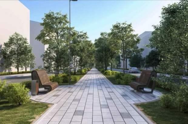Пешеходную зону в Рязанском районе отремонтируют и дополнительно озеленят в сентябре