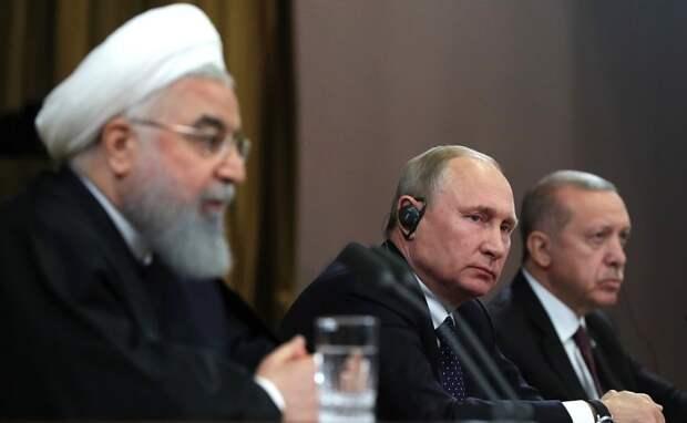 Состоялась пресс-конференция по итогам встречи президентов России, Ирана и Турции