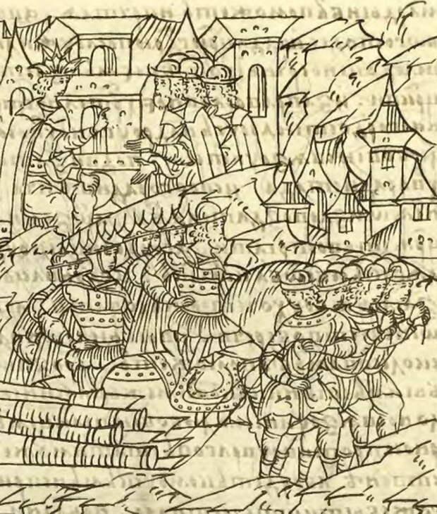 Русское войско и наряд в походе. Миниатюра из Лицевого свода - «Взятье полоцкое литовские земли…»: силы сторон | Warspot.ru