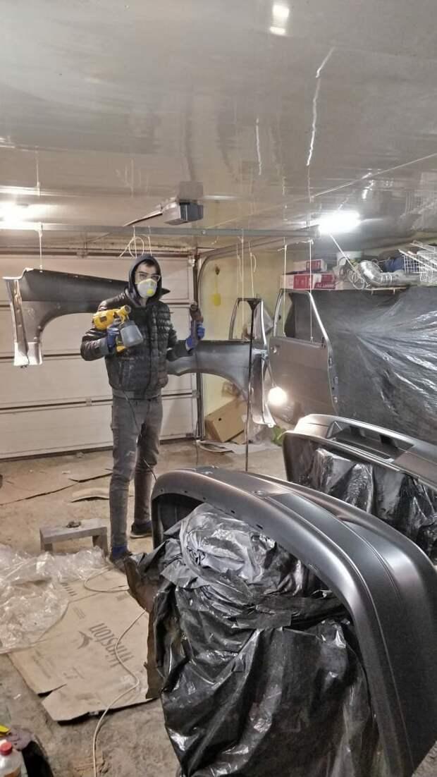 Покрываем машину лаком из Электрокраскопульта. ВАЗ-2115