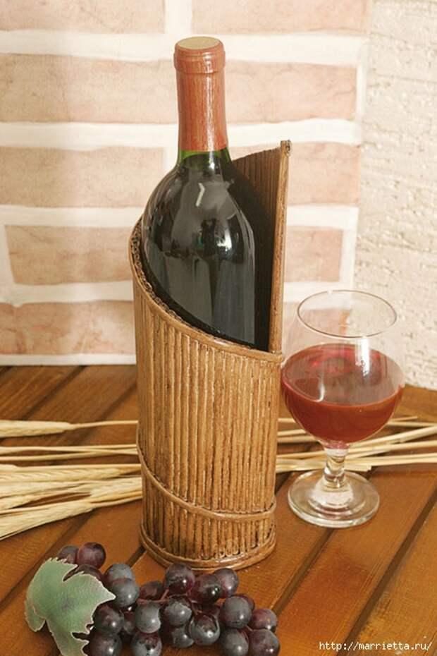 Плетение из газет. Подставка для винной бутылки