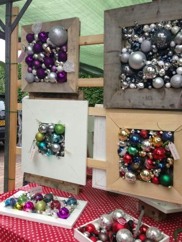 рамочки с елочными шарами