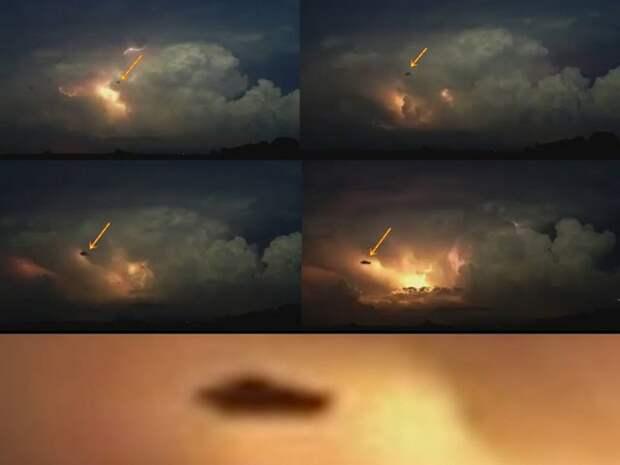 НЛО в окружении многочисленных молний