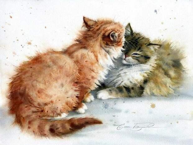 Акварели Елены Базановой. Мир кошек