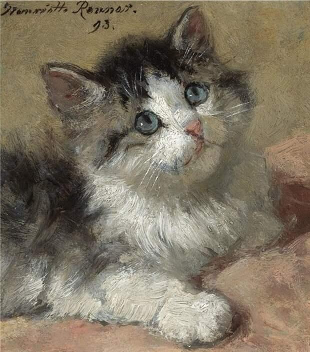 Любопытный котенок. 1893. Дерево, масло. 11 х 10 см. Эта крошечный портрет (меньше тетрадного листка!) в 2009 году ушел с аукциона «Сотби» за 29 тысяч долларов.