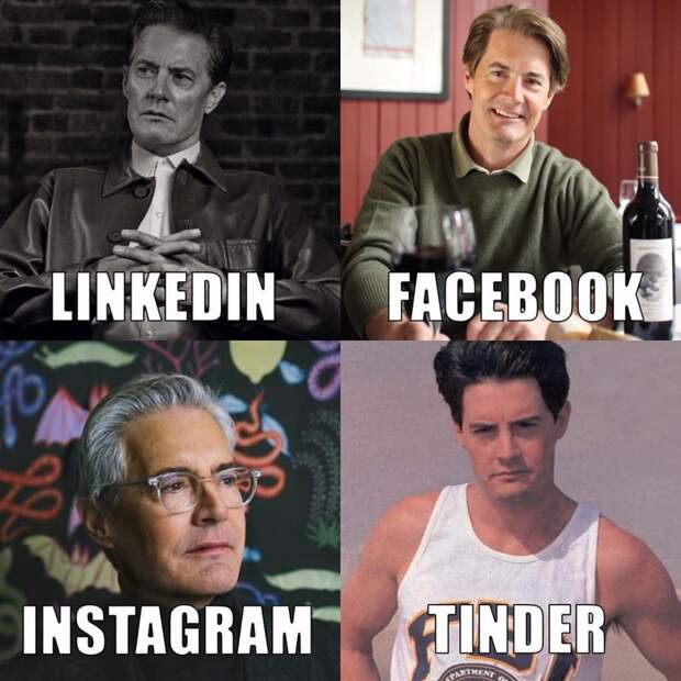 Что за мем «LinkedIn, Facebook, Instagram и Tinder»?