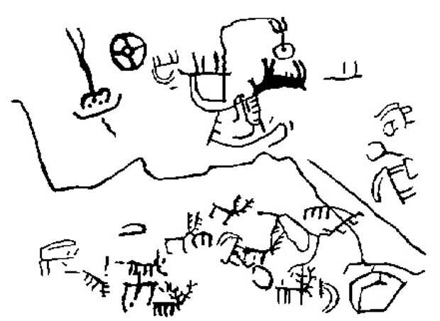 Крест - звезда (вид звезды до сближения с Солнцем) на фоне созвездий - Большая Медведица и созвездие Козерога. Ниже изображены горы и животные. Прорисовка наскального рисунка. Ухтасар. Армения.