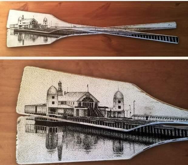 Старые весла, маркер и немного фантазии, получается оригинальная картина