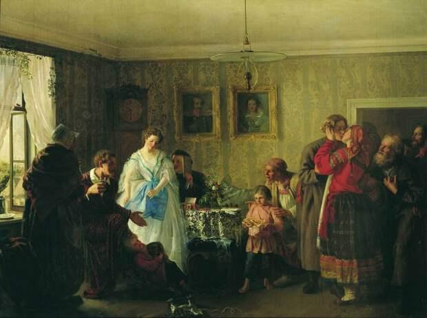 """Г. Мясоедов """"Поздравление молодых в доме помещика"""" (1861)"""