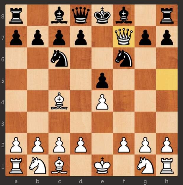 Детский мат 1. e4 e5 2. Фh5 Кc6 3. Сc4 Кf6 4. Фxf7#