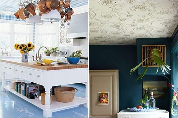 Узорчатые обои на потолке: модно и красиво!
