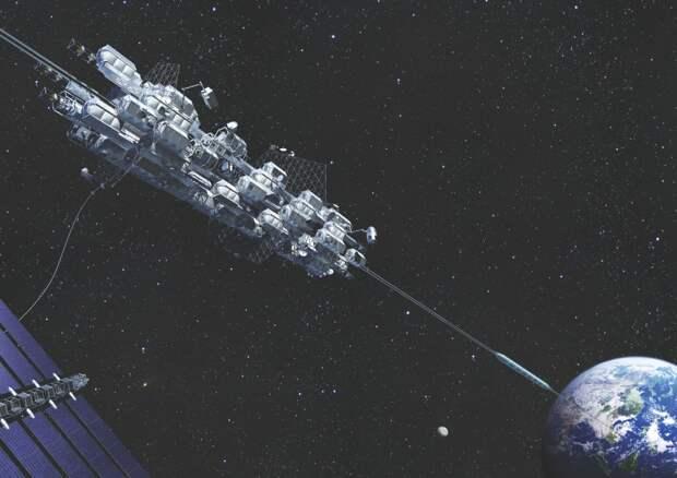 Нижний трос лифта должен иметь массу втрое больше, чем требуют соображения прочности. Ведь он будет уравновешивать 108 тысяч километров «верхнего» троса