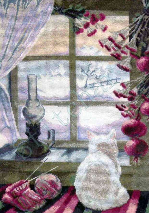 Вышивка «Кошка у окошка»