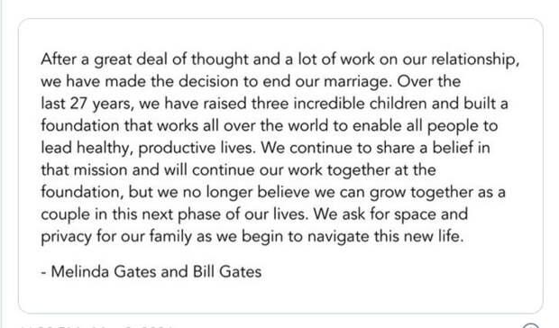 Билл и Мелинда Гейтс разводятся после 27 лет совместной жизни