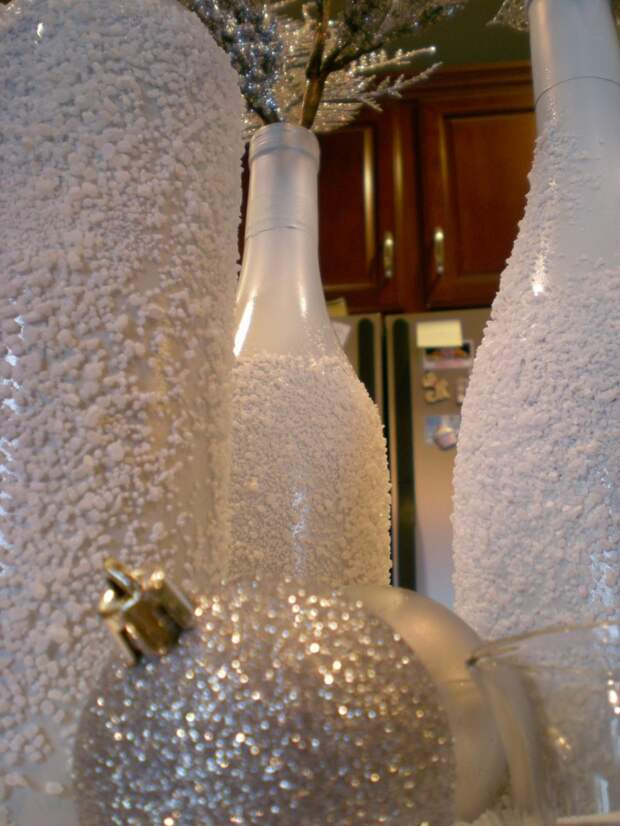 Снежные бутылки - легко и просто!!!