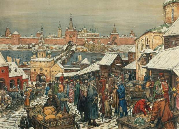 А. Васнецов, «Новгородский торг»